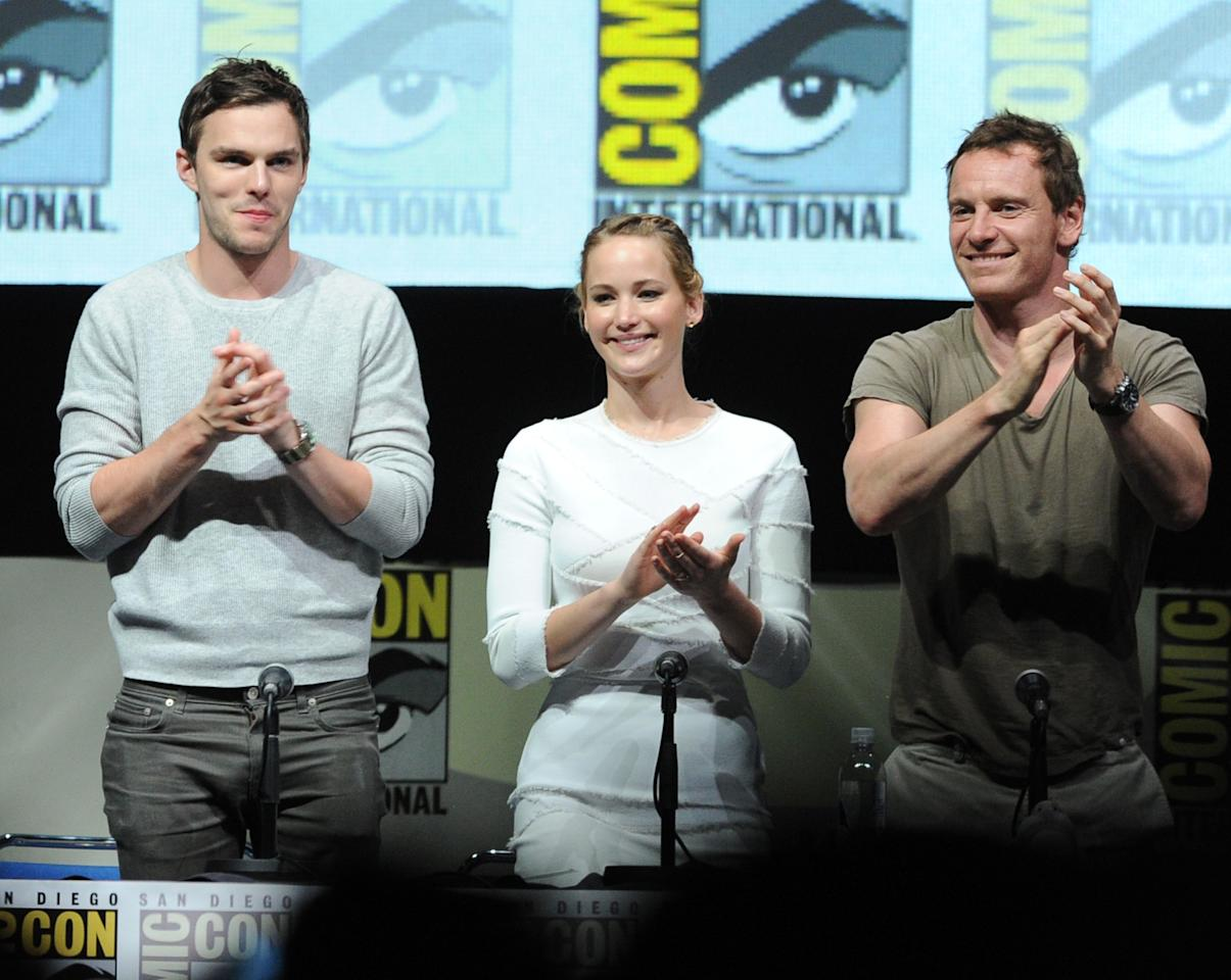 "SAN DIEGO, CA - JULY 20: (L-R) Actor Nicholas Hoult, actress Jennifer Lawrence and actor Michael Fassbender speak at the 20th Century Fox ""X-Men: Days of Future Past"" panel during Comic-Con International 2013 at San Diego Convention Center on July 20, 2013 in San Diego, California. (Photo by Kevin Winter/Getty Images)"