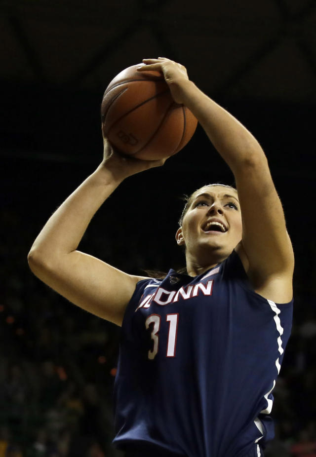 Connecticut center Stefanie Dolson (31) goes up for a shot in the first half of an NCAA college basketball game against Baylor, Monday, Jan. 13, 2014, in Waco, Texas. (AP Photo/Tony Gutierrez)