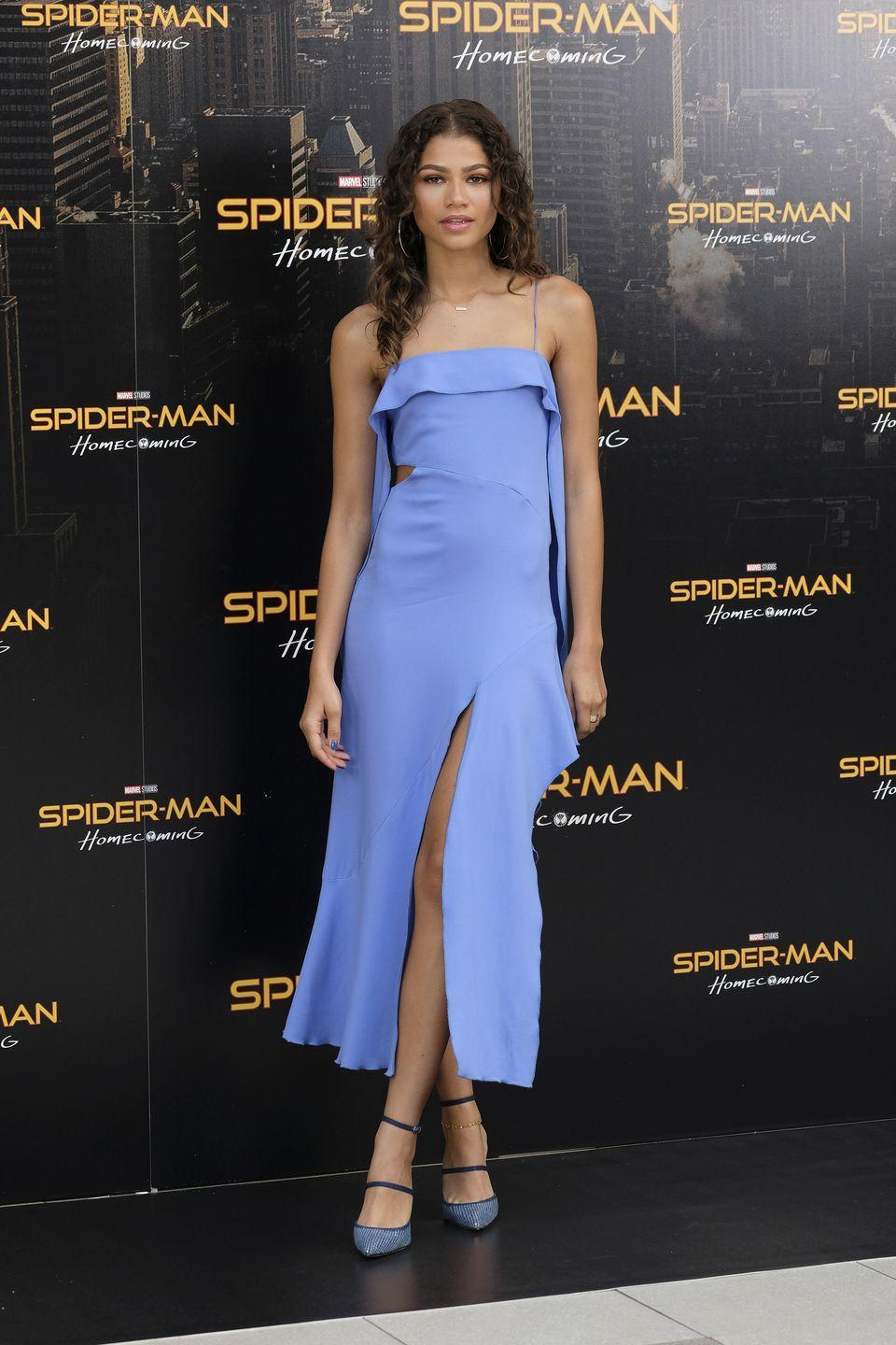 <p>At a <em>Spiderman: Homecoming</em> photocall, this periwinkle number by Jonathan Simkhai stunned with some matching Manolo pumps.</p>