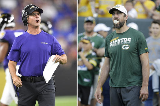 FILE - At left, in an Aug. 8, 2019, file photo, Baltimore Ravens head coach John Harbaugh talks to his team during the first half of an NFL football preseason game against the Jacksonville Jaguars in Baltimore. At right,also in an Aug. 8, 2019, file photo, Green Bay Packers quarterback Aaron Rodgers blows bubbles with his gum before the start of an NFL preseason football game against the Houston Texans in Green Bay, Wis. The Ravens will see a little bit of Aaron Rodgers on Thursday night, Aug. 15 in their preseason game. (AP Photo/File)