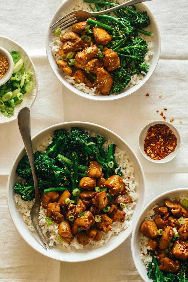 """<p>These dinner bowls will spice up your Tuesday night.</p><p>Get the recipe: <a rel=""""nofollow"""" href=""""http://www.delish.com/cooking/recipe-ideas/recipes/a52520/spicy-chicken-teriyaki-bowls-recipe/"""">Spicy Chicken Teriyaki Bowls</a></p>"""