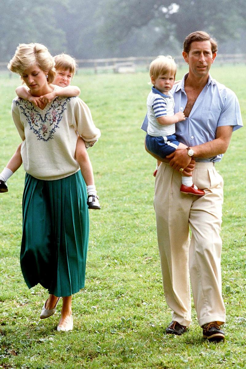 The royal family take a walk in the gardens of Highgrove House.