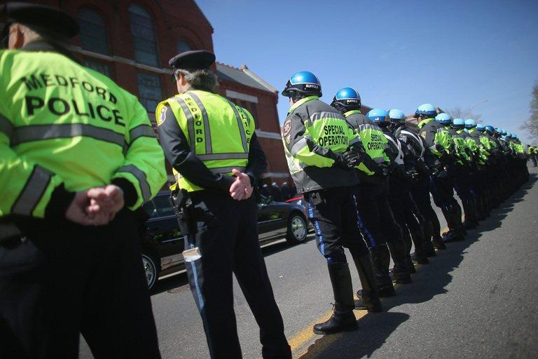 The funeral procession for 29-year-old Krystle Campbell, who was one of three people killed in the Boston Marathon bombings, on April 22, 2013 in Medford, Massachusetts