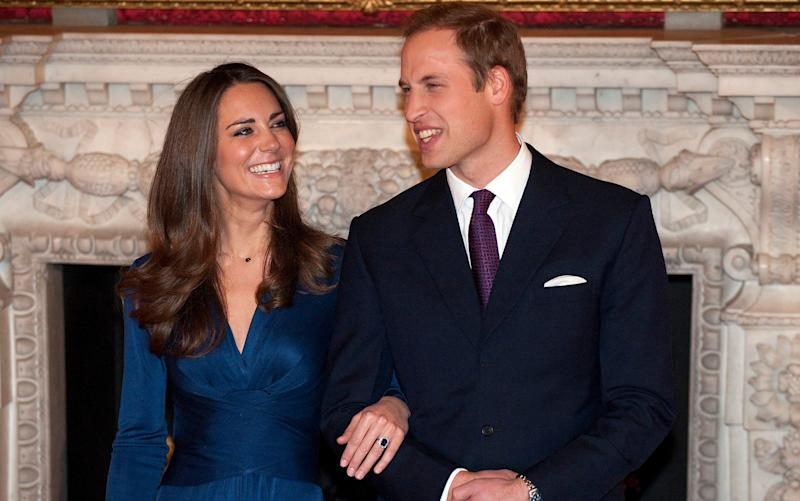 Kate Middleton, the Duchess of Cambridge, was given a sapphire diamond engagement ring by Prince William, which was worn by his mother Princess Diana - Credit: EDDIE MULHOLLAND/The Telegraph