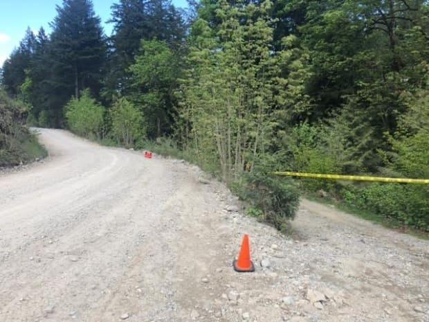 Yellow police tape is seen in the area west of Agassiz, B.C., where a woman was attacked by a cougar on Tuesday.