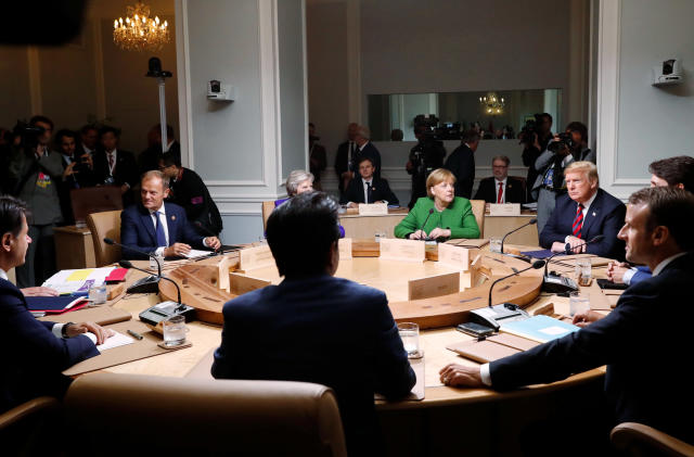 <p>World leaders attend a working session of the G7 Summit in the Charlevoix city of La Malbaie, Quebec, Canada, June 8, 2018. (Photo: Leah Millis/Reuters) </p>
