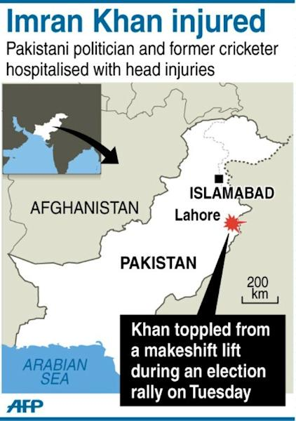 Graphic locating Lahore in Pakistan where politician and former cricketer Imran Khan was rushed to hospital with head injuries Tuesday after falling off a makeshift lift at an election rally