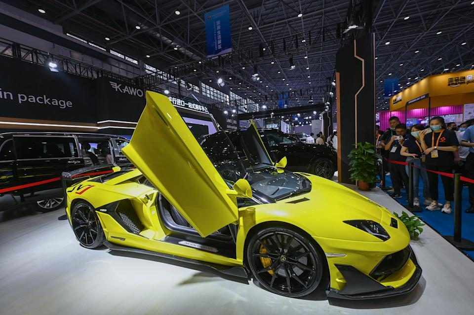 A Lamborghini car is on display at Kawo booth during the first China International Consumer Products Expo in Haikou, Hainan, on 8 May. Photo: VCG/VCG via Getty Images