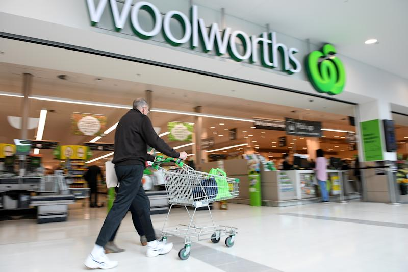 A general view of a Woolworths store at Double Bay in Sydney. A man is seen pushing a trolley.