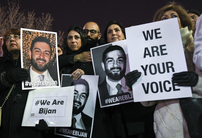 Friends and family of Bijan Ghaisar gathered in front of the Department of the Interior on Jan. 26, 2018. (Photo: Toni L. Sandys/The Washington Post via Getty Images)