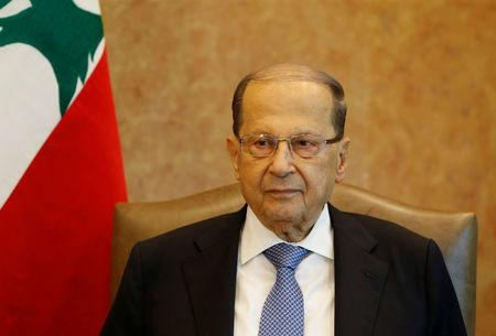 Lebanese President Michel Aoun is seen at the presidential palace in Baabda