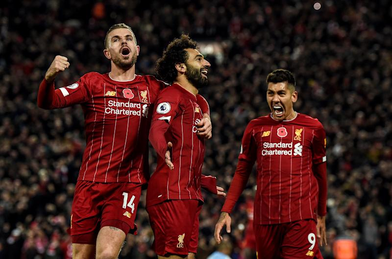 LIVERPOOL, ENGLAND - NOVEMBER 10: (THE SUN ON OUT, THE SUN ON SUNDAY OUT) Mohamed Salah of Liverpool celebrates after scoring the opening goal during the Premier League match between Liverpool FC and Manchester City at Anfield on November 10, 2019 in Liverpool, United Kingdom. (Photo by John Powell/Liverpool FC via Getty Images)
