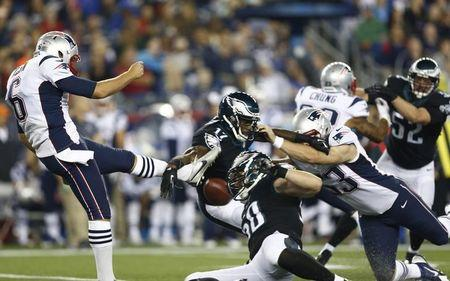 FILE PHOTO: Aug 15, 2014; Foxborough, MA, USA; Philadelphia Eagles wide receiver Arrelious Benn (17) blocks the punt of New England Patriots punter Ryan Allen (6) during the first half at Gillette Stadium. Mandatory Credit: Mark L. Baer-USA TODAY Sports
