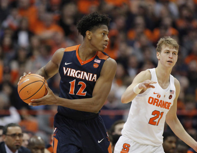 De'Andre Hunter will be back in Charlottesville next year. (AP Photo/Nick Lisi)