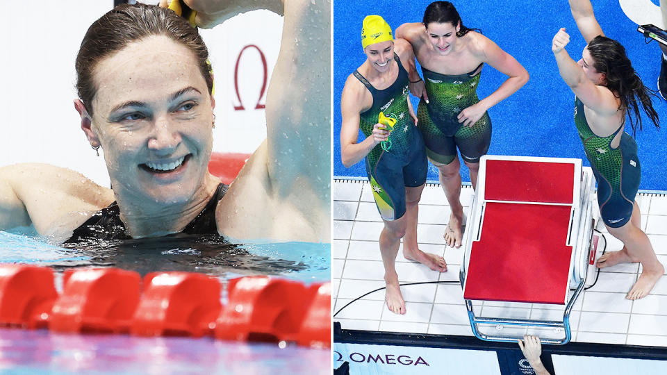 Cate Campbell, pictured here after securing Australia's ninth gold medal in the pool in Tokyo.