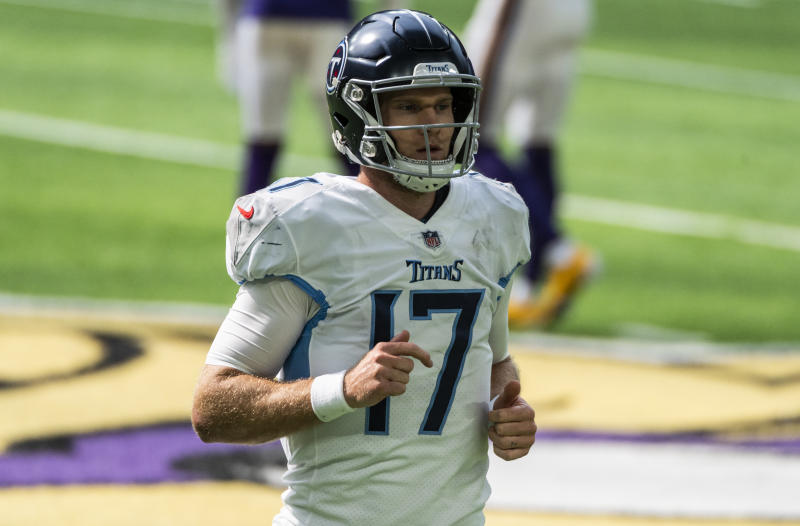 MINNEAPOLIS, MN - SEPTEMBER 27: Ryan Tannehill #17 of the Tennessee Titans jogs to the sidelines during a timeout in the second quarter of the game against the Minnesota Vikings at U.S. Bank Stadium on September 27, 2020 in Minneapolis, Minnesota. (Photo by Stephen Maturen/Getty Images)