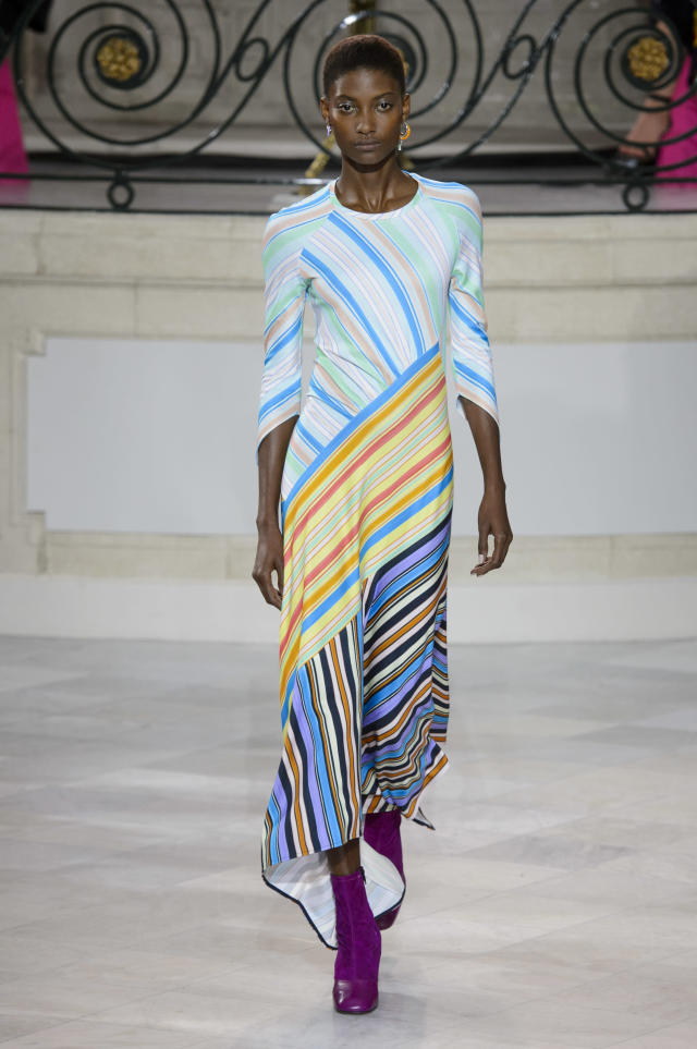 <p><i>Colorful striped maxi dress from the SS18 Peter Pilotto collection. (Photo:IMAXtree) </i></p>