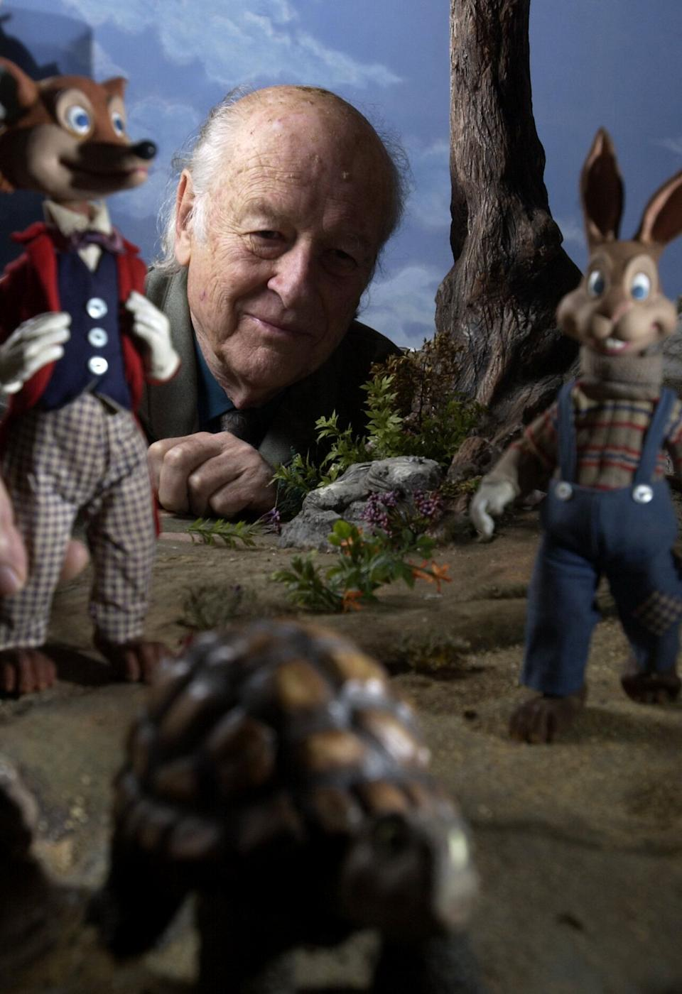 """Ray Harryhausen, master stop–motion animator recently completed """"The Tortoise and the Hare"""" with the help of freelance stop–motion animators Seamus Walsh, Mark Caballero and producer Richard Jones. Harryhausen began filming in 1952 using the same puppets.  (Photo by Myung J. Chun/Los Angeles Times via Getty Images)"""