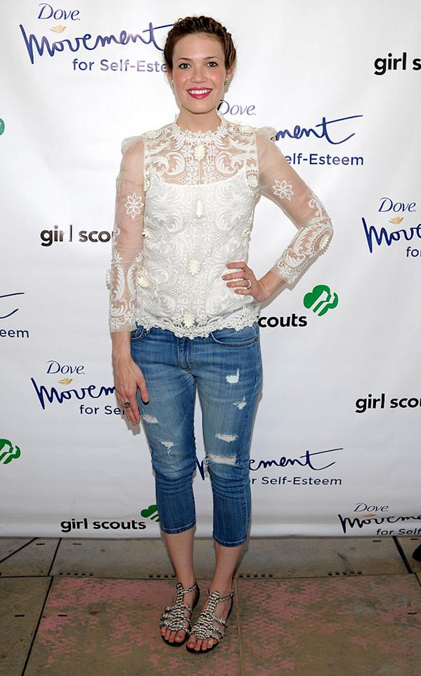 "Speaking of lacy curtains/doilies/things that belong in a granny museum, check out the unfortunate Collette Dinnigan top Mandy Moore mistakenly paired with busted jeans and gladiator sandals for the Girl Scouts Rock The Mall event in Washington, D.C. Perhaps it's just us, but we miss Mandy's ""Candy"" days. (6/9/2012)"