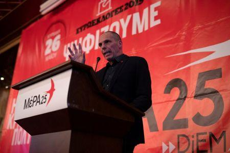 Leader of MeRA25 party and candidate for the European Parliament Yanis Varoufakis delivers a speech during his pre-election campaign in Ioannina, Greece, May 16, 2019. Picture taken May 16, 2019. REUTERS/Alkis Konstantinidis
