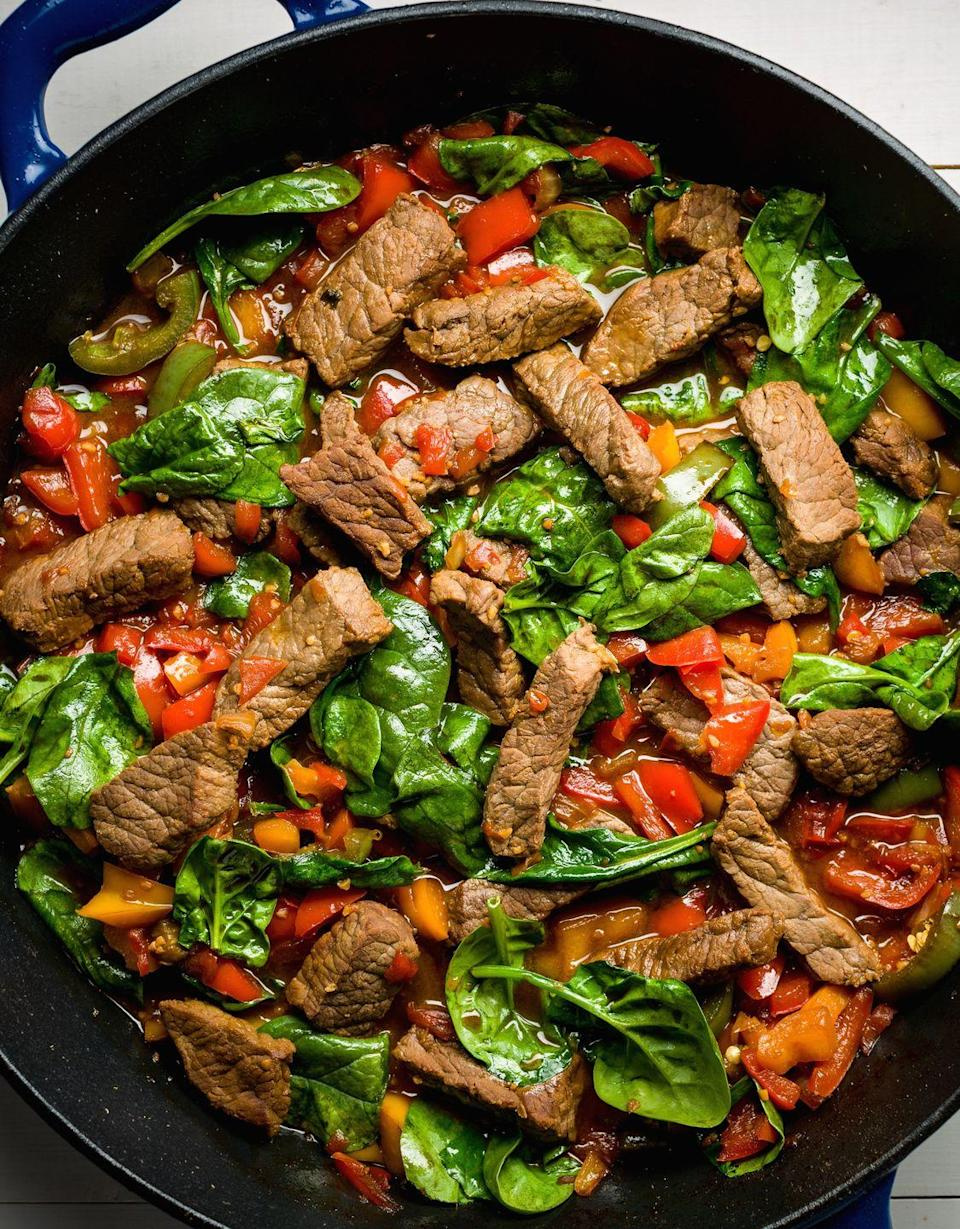 """<p>Busy weeknight? This skillet is there for you.</p><p>Get the recipe from <a href=""""https://www.delish.com/cooking/recipe-ideas/recipes/a45846/teriyaki-steak-stir-fry-with-peppers-recipe/"""" rel=""""nofollow noopener"""" target=""""_blank"""" data-ylk=""""slk:Delish"""" class=""""link rapid-noclick-resp"""">Delish</a>.</p>"""