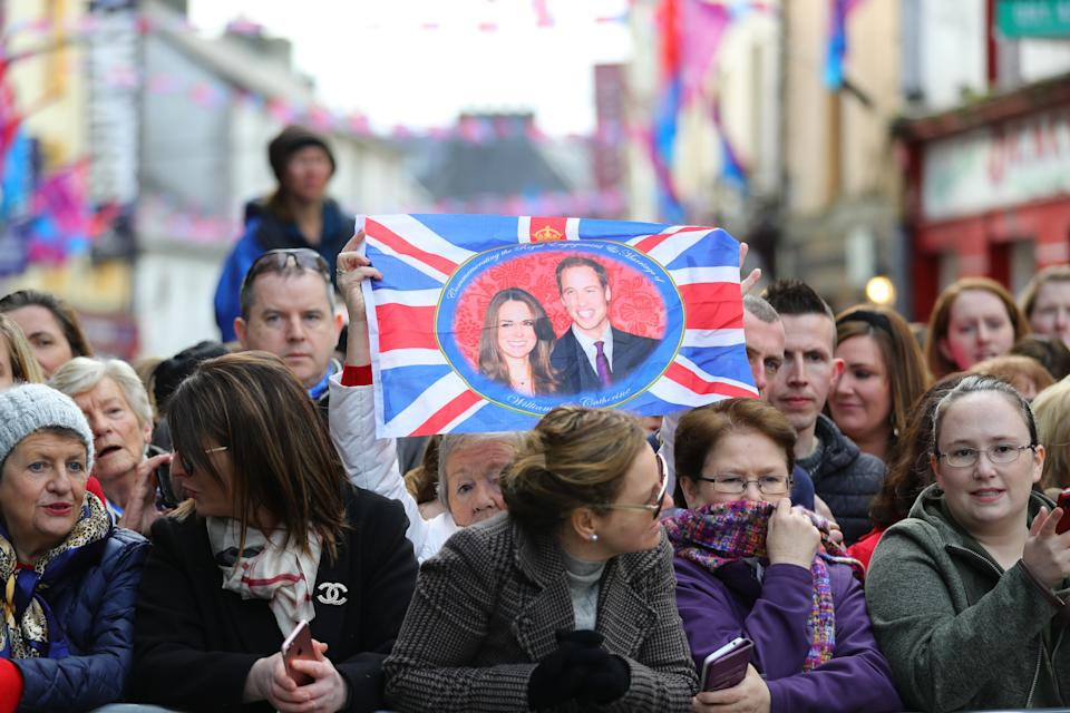 Local Galwegians await the arrival of the Duke and Duchess of Cambridge for a visit to a traditional Irish pub in Galway city centre during the third day of their visit to the Republic of Ireland.