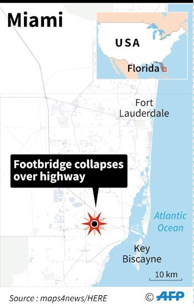 A newly installed pedestrian bridge over a six-lane highway on a college campus in Miami collapsed Thursday (AFP Photo/Anella RETA)