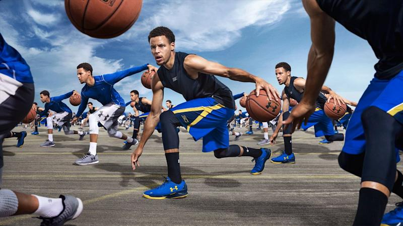 Multiple images of Steph Curry dribbling a basketball and wearing Under Armour shoes and clothing.
