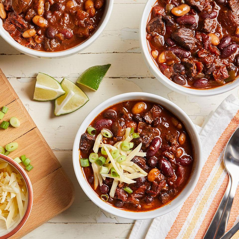 <p>This rib-sticking bean chili is richly flavored with cumin, chili, paprika, oregano and an assortment of peppers. Use whatever beans you have in your pantry.</p>