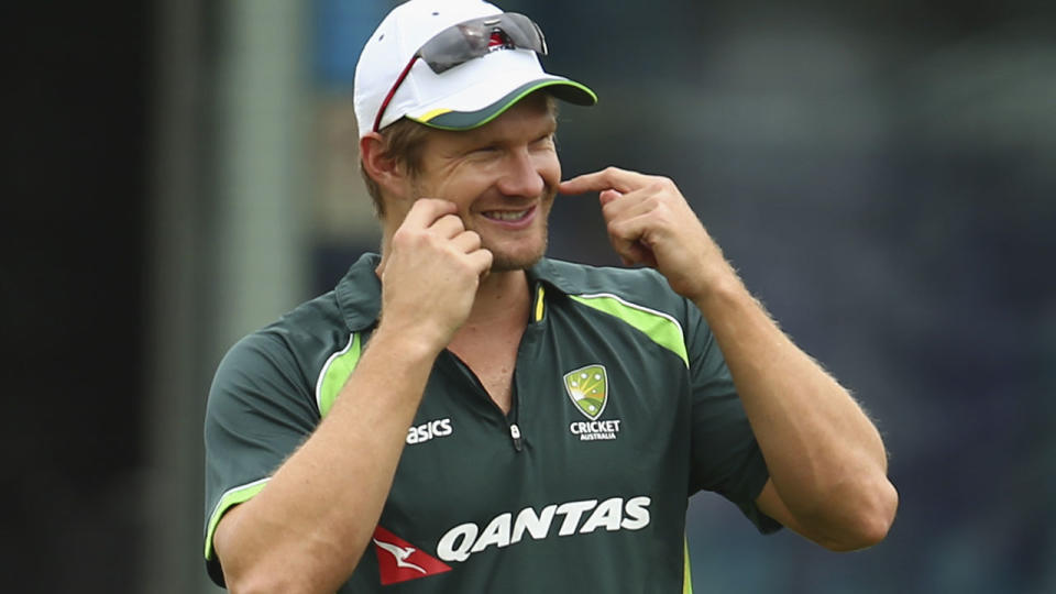 Shane Watson during a training session for the 2015 Ashes.  (Photo by Ryan Pierse/Getty Images)