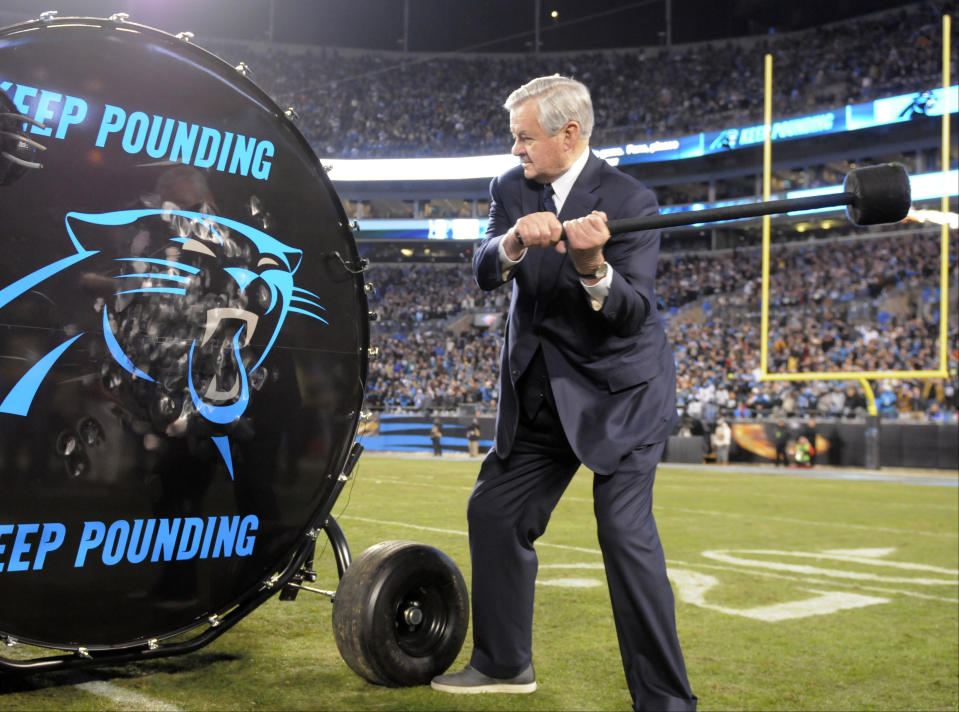 Jerry Richardson, pictured here in 2016, sold his ownership of the Panthers shortly after Sports Illustrated published a report alleging incidents of sexual harassment and racism by Richardson. (AP Photo/Mike McCarn)