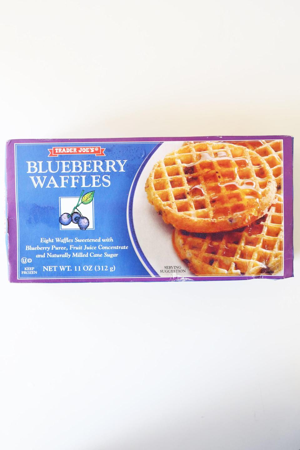<p> There's nothing better than the smell of crisp waffles in the morning. Filling your kitchen with the scent of blueberry goodness, your mouth will drool before you even have a taste. Needless to say, Trader Joe's frozen blueberry waffles are a must have. </p>