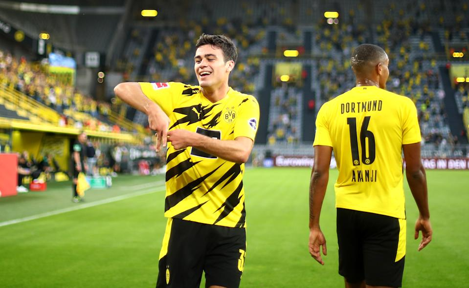 Gio Reyna, the 17-year-old U.S. international, scored his first Bundesliga goal for Borussia Dortmund. (Photo by Dean Mouhtaropoulos/Getty Images)
