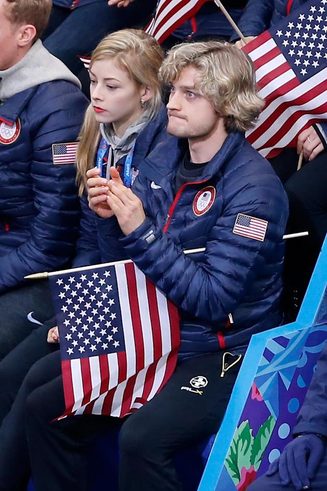 SOCHI, RUSSIA - FEBRUARY 06: Figure skaters Gracie Gold and Charlie White of the United States look on as teammate Jeremy Abbott competes in the Figure Skating Men's Short Program during the Sochi 2014 Winter Olympics at Iceberg Skating Palace on February 6, 2014 in Sochi, Russia. (Photo by Matthew Stockman/Getty Images)