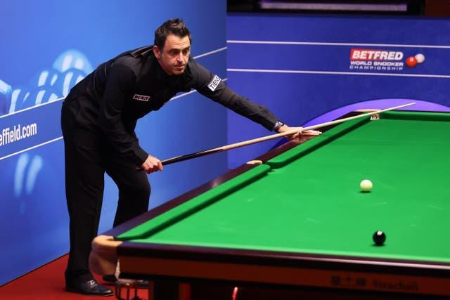 Defending champion Ronnie O'Sullivan rattled in three consecutive centuries to complete a 10-4 victory over Mark Joyce in his opener at the World Snooker Championships