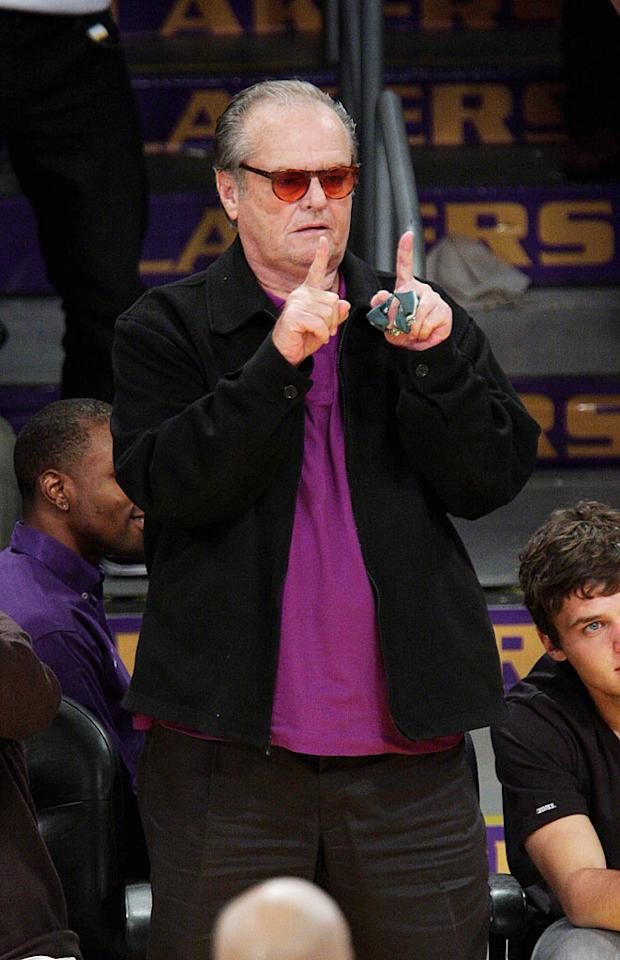 "Courtside mainstay Jack Nicholson shows his purple pride. Noel Vasquez/<a href=""http://www.gettyimages.com/"" target=""new"">GettyImages.com</a> - May 27, 2009"