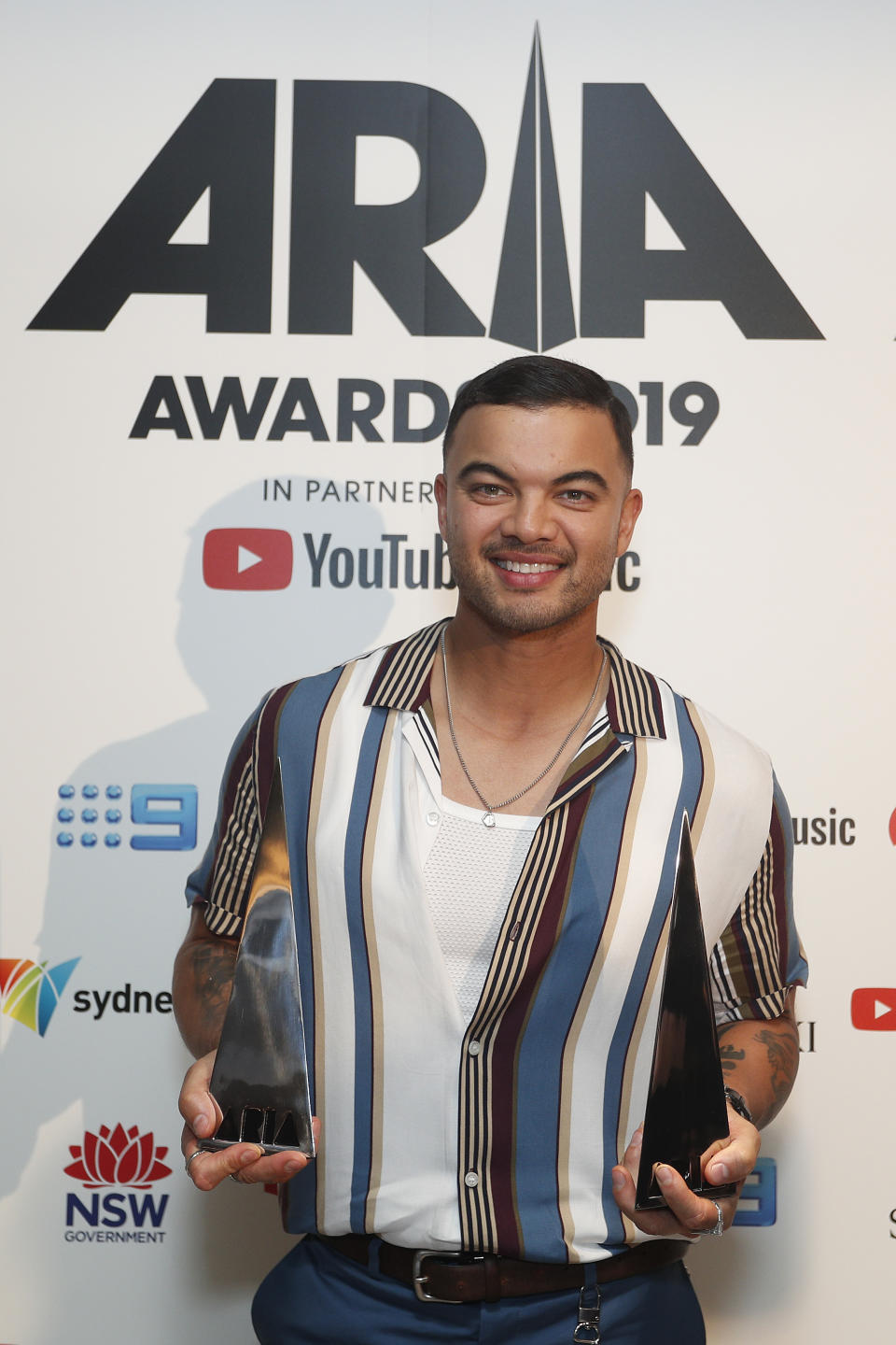 Guy Sebastian poses in the awards room with the ARIA for Best Video and Song of The Year during the 33rd Annual ARIA Awards 2019 at The Star on November 27, 2019 in Sydney, Australia.