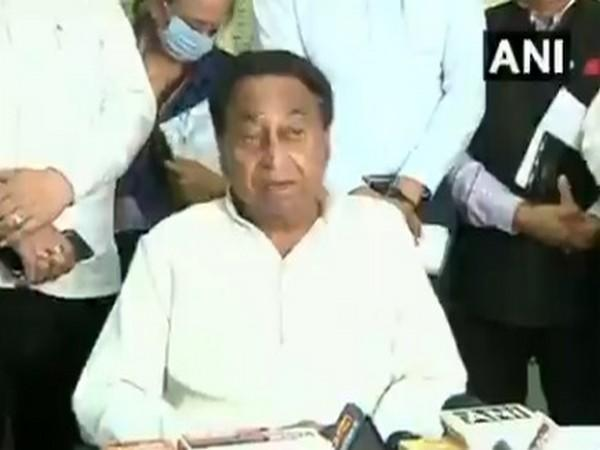 Congress leader Kamal Nath speaking to media on Tuesday.