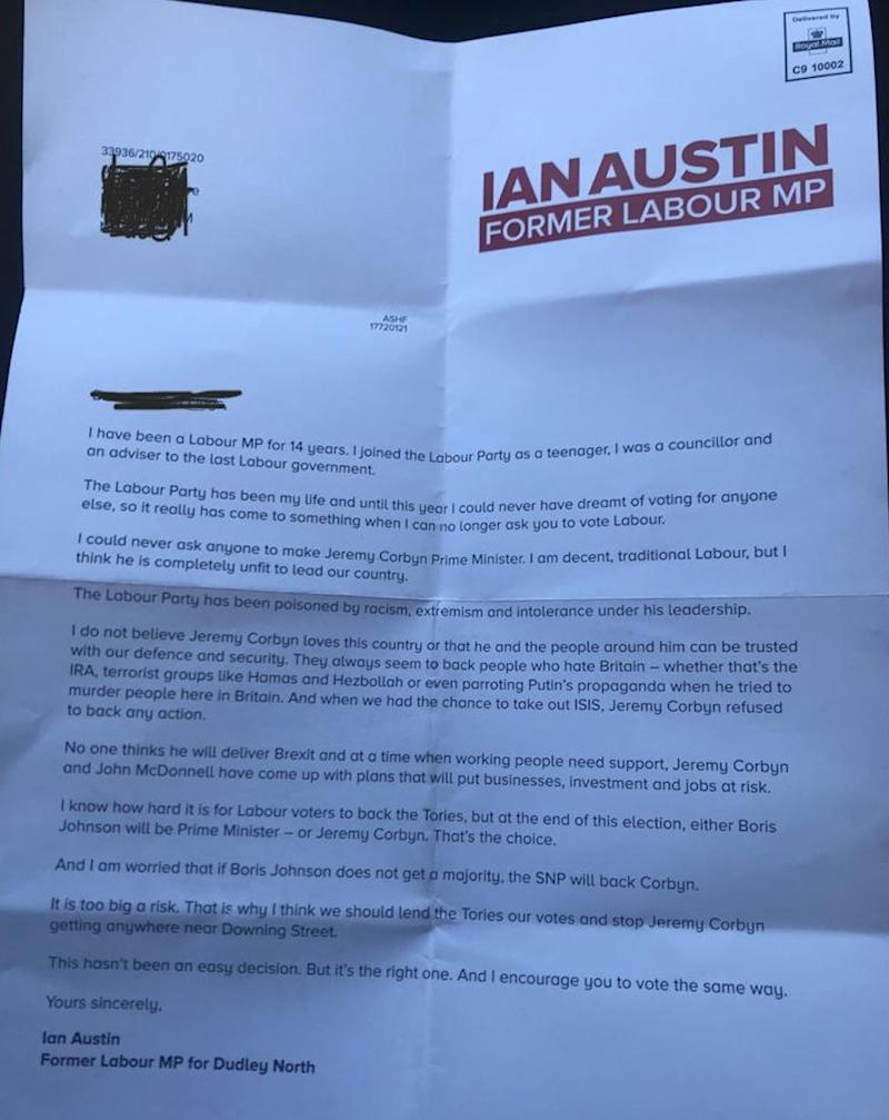 Ian Austin's letter to voters, sent by the Tories (Photo: HuffPost UK)