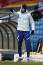 Chelsea's head coach Thomas Tuchel gestures during the English Premier League soccer match between Leeds United and Chelsea at Elland Road stadium, in Leeds, England, Saturday, March 13, 2021. (Lee Smith/Pool via AP)