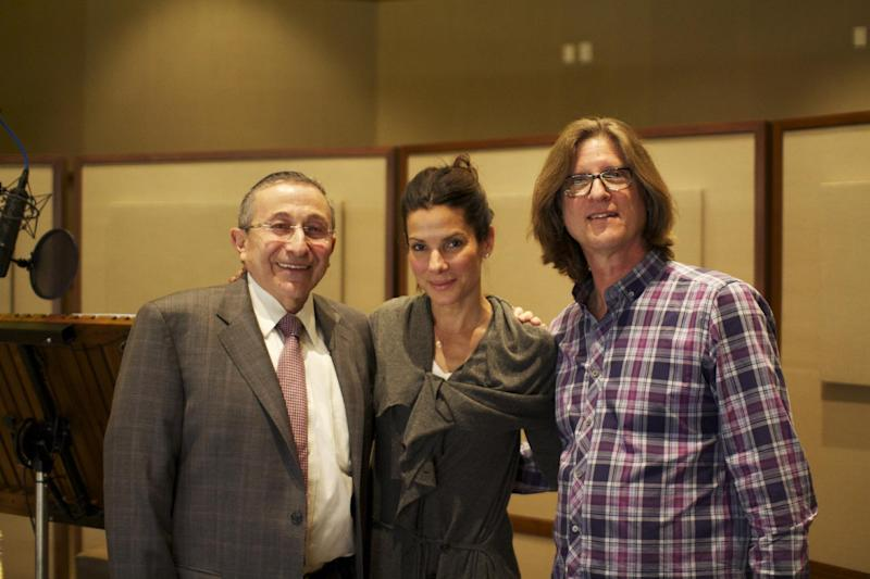 """This March 2013 photo released by Moriah Films shows, from left, Rabbi Marvin Hier, actress Sandra Bullock, and Moriah Films director Richard Trank, during a recording session at DreamWorks Animation Studio in Burbank, Calif. The Wiesenthal Center's Oscar-winning film division, issues its 13th historical movie, """"The Prime Ministers,"""" on Nov. 6, 2013. Bullock is the voice of Golda Meir in the documentary. (AP Photo/Moriah Films, Nimrod Erez)"""
