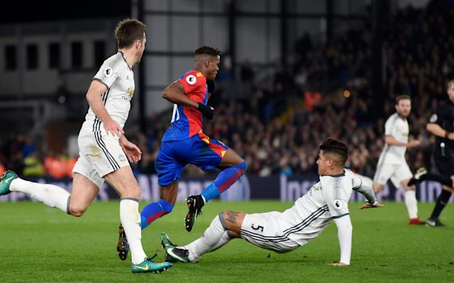 <span>Rojo was lucky to escape red for a two-footed challenge on Wilfried Zaha earlier this season</span> <span>Credit: Reuters </span>