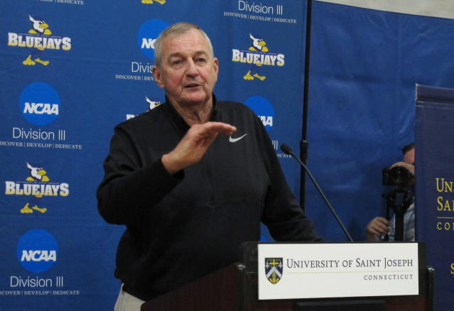 Hall of Fame basketball coach Jim Calhoun talks about his efforts in building a new basketball program at Saint Joseph, a Division III school, during a news conference on the school's West Hartford, Conn., campus Wednesday, May 16, 2018. (AP Photo/Pat Eaton-Robb)