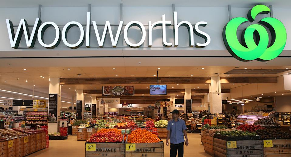 Photo shows front of Woolworths store.
