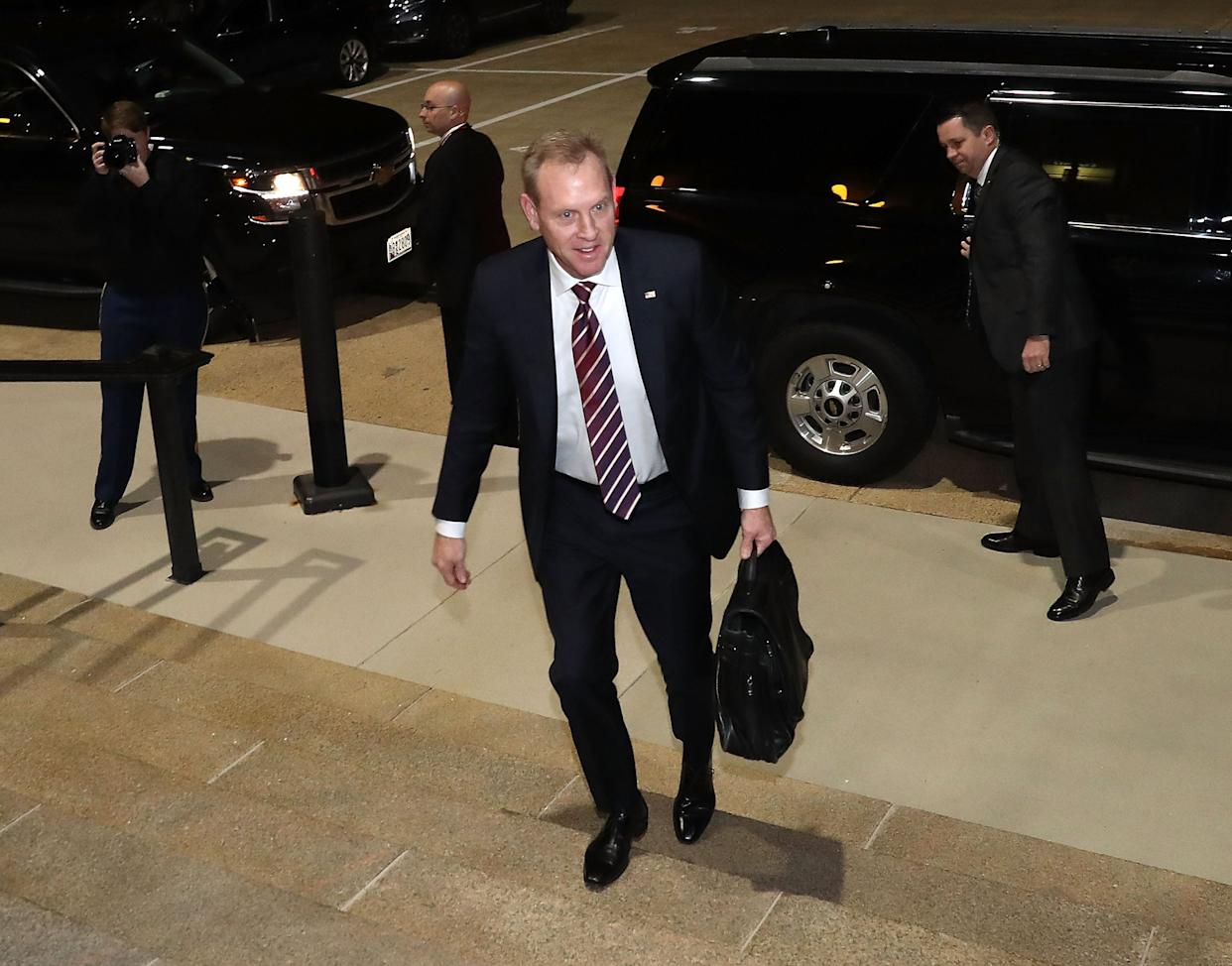 Acting U.S. Defense Secretary Patrick Shanahan arrives at the Pentagon for the first time in his official capacity, on Jan. 2, 2019 in Arlington, Va.