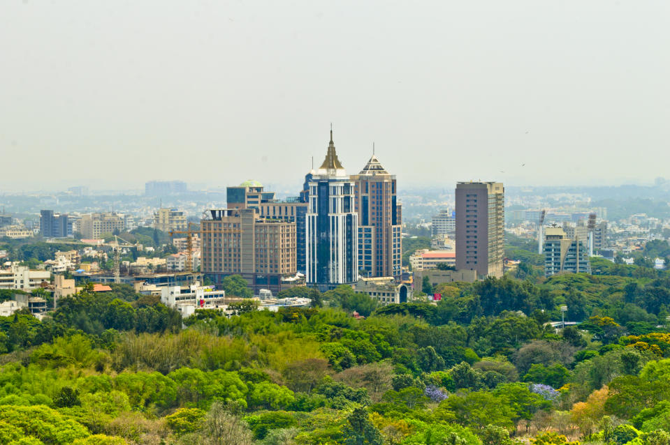 Bangalore city scape with trees in foreground