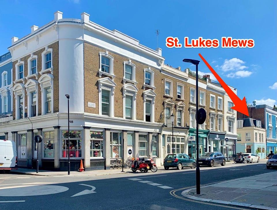 St. Lukes Mews entrance opening up to All Saints road in Notting Hill.