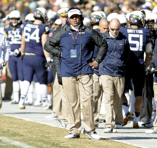 Navy Midshipmen head coach Ken Niumatalolo stands on the sidelines in the second half during the Armed Forces Bowl NCAA college football game against the Middle Tennessee Blue Raiders, Monday, Dec. 30, 2013, in Fort Worth. Navy won 24-6. (AP Photo/Matt Strasen)