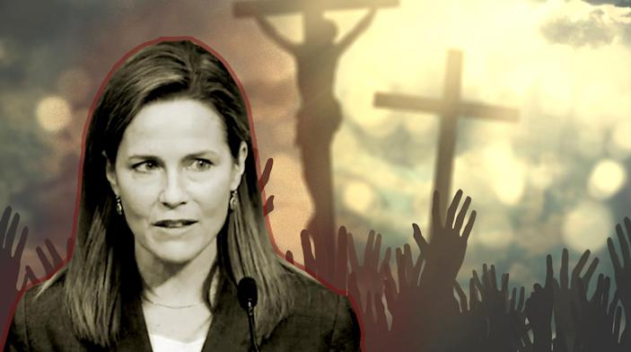 Judge Amy Coney Barrett (Photo illustration: Yahoo News; photos: Screengrab via Federalist Society YouTube, Getty Images)