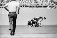 """<p><strong>April 25, 1976</strong>: Rick Monday was a US Marine for 6 years, which made him uniquely qualified to be patrolling center field for the Chicago Cubs at Dodger Stadium on April 25, 1976.<br><br>Monday noticed two protesters in left-centerfield, preparing to burn the American flag. He swooped over and snatched the flag from them.<br><br>""""I was angry when I saw them start to do something to the flag, and I'm glad that I happened to be geographically close enough to do something about it,"""" Monday told the<em> Washington Post</em>.<br><br>Later in 1976, Dodgers exec Al Campanis gave the flag to Monday. He still has it. """"I know the people were very pleased to see Monday take the flag away from those guys,"""" Manny Mota, who played with Monday, told the <em>Post</em>. """"I know Rick has done a lot of good things as a player and as a person. But what he did for his country, he will be remembered for the rest of his life as an American hero.""""<br> </p>"""
